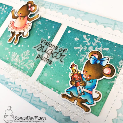 Visions of Sugar Plums Card by Samantha Mann for Newton's Nook Designs, Slimline Card, Christmas, Stencil, Embossing Paste, Handmade Cards, Card Making, #newtonsnook #slimline #cards #christmas #christmascard #handmadecard #stencil #nutcracker