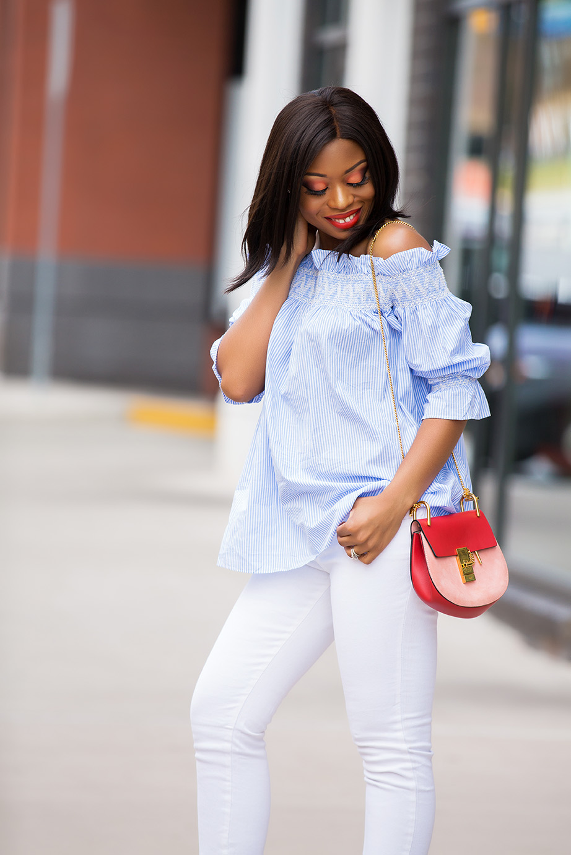 off shoulder stripe tunic, white jeans, chloe bag, www.jadore-fashion.com