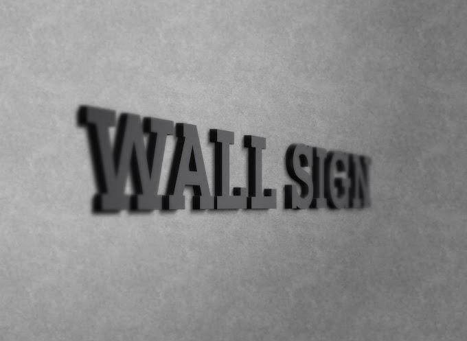 Wall Sign 3D logo Mockup PSD