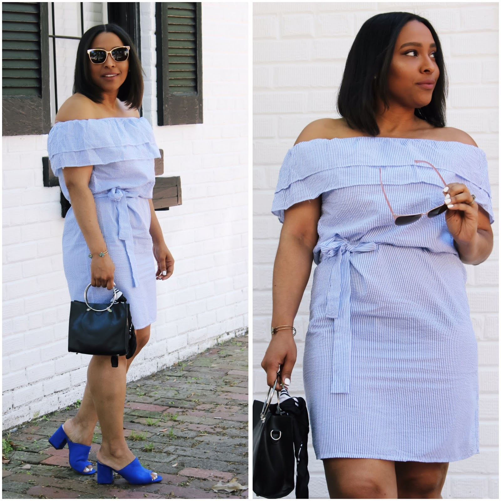 to save.com, spring dress, blue spring dress, off the shoulder dress, off the shoulder trend, blue mules, spring outfits, blue dress
