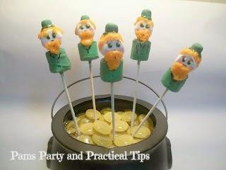 Marshmallow Leprechaun Pops in Pot of Gold