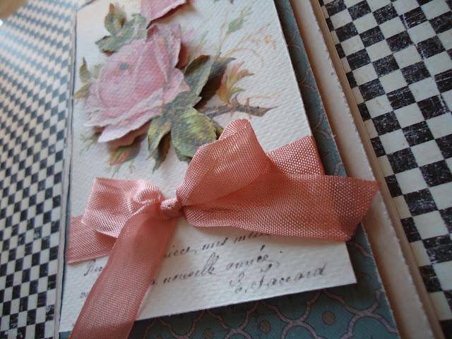 warstwowa kartka hand made z różą i wstążką vintage