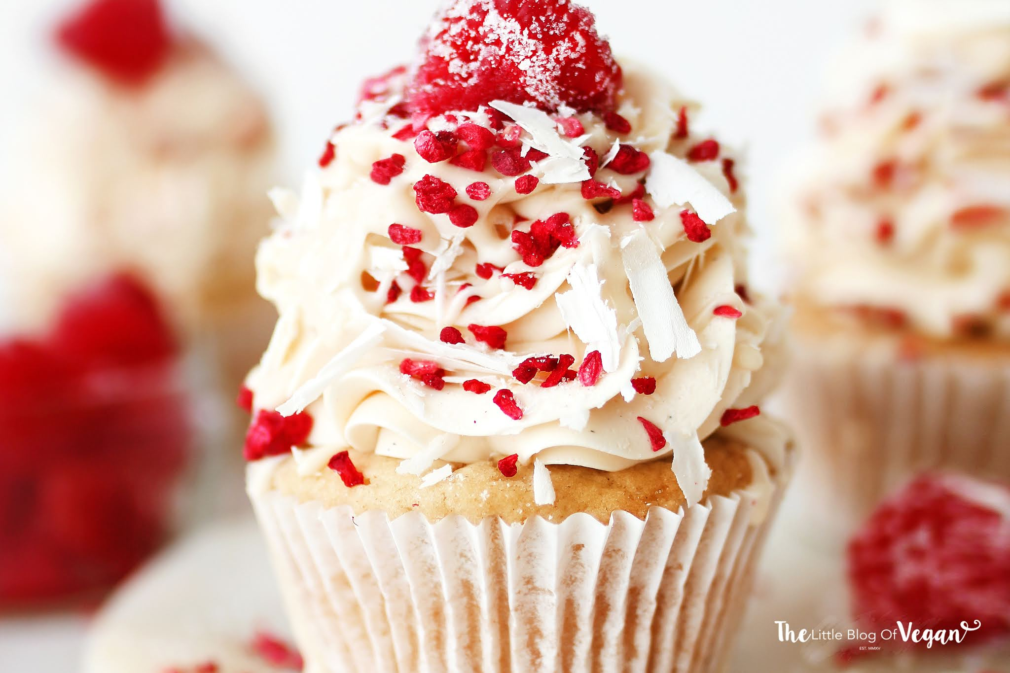 Vegan Raspberry and White Chocolate Cupcakes recipe