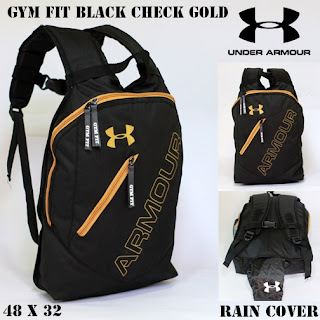 TAS BACKPACK UNDER ARMOUR GYM FIT HITAM GOLD