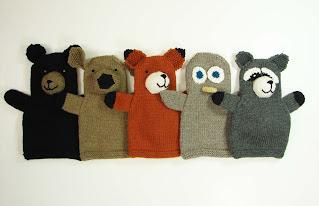hand, puppet, knit, pattern, menagerie, woodland, bear, deer, fox, owl, raccoon