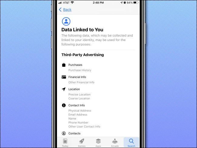 مثال على صفحة تفاصيل خصوصية التطبيقات في متجر تطبيقات iPhone.