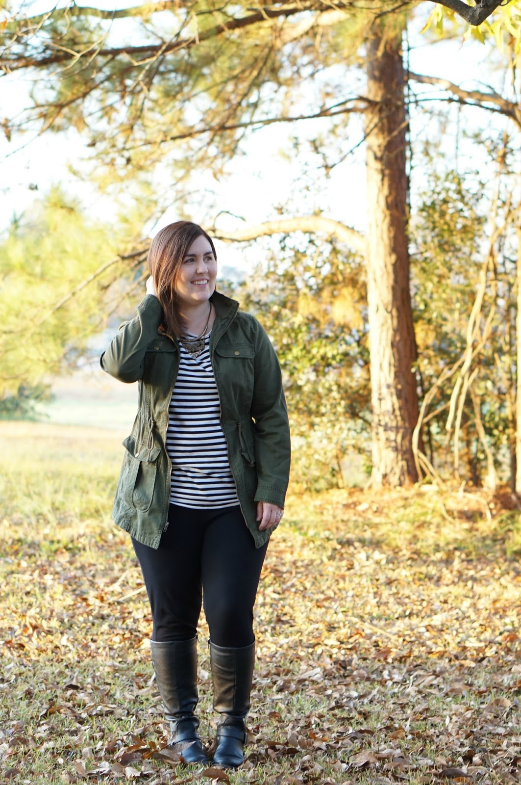 Rebecca Lately Green Anorak Striped Target Top J. Crew Pixie Pants Bare Traps Sebastian Boots