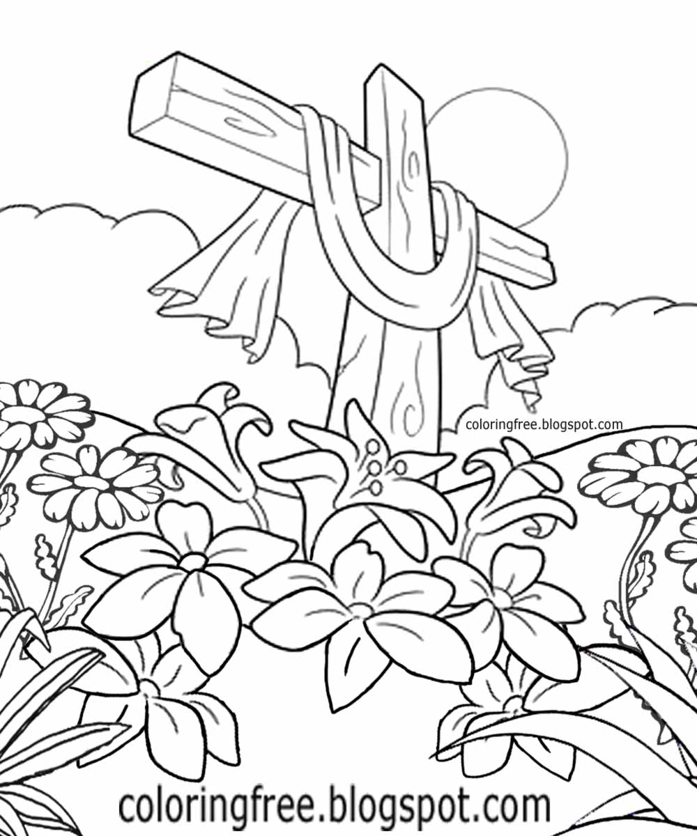 Beautiful Holy Cross Of Jesus Easter Flowers Coloring Pages For Kids Garden Printable Plant Sketch