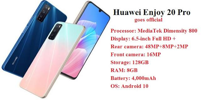 هاتف هواوي Huawei Enjoy 20 Pro الجديد مع شاشة بحجم 6.5، وثلاث كاميرات