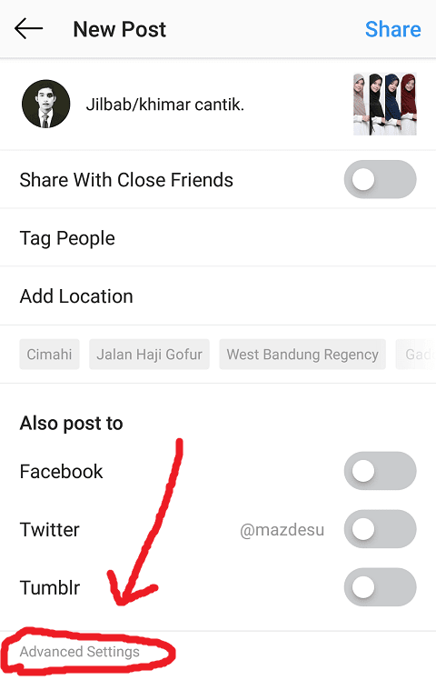 Masuk Menu Adanced Settings Instagram