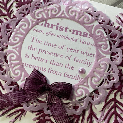 Close up of sentiment on handmade Christmas Card using the Stampin' Up! Well Defined Cling Stamp Set