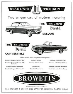 H A Browett & Co Ltd - Leicester Triumph car dealer advert 1960