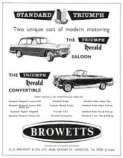 H A Browett & Co Ltd - Leicester Triumph car dealer advert 1960