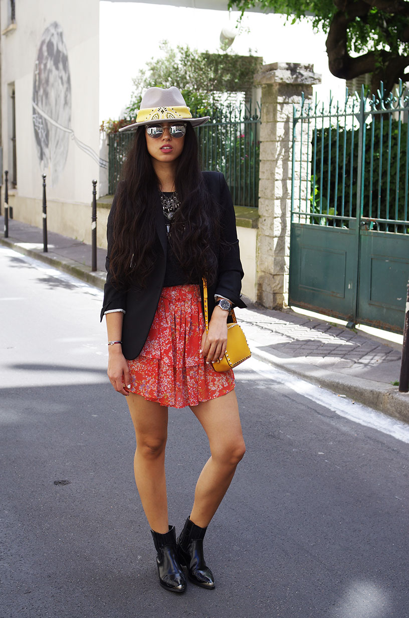 Elizabeth l Floral skirt outfit l Zara Mango The Kooples l THEDEETSONE l http://thedeetsone.blogspot.fr