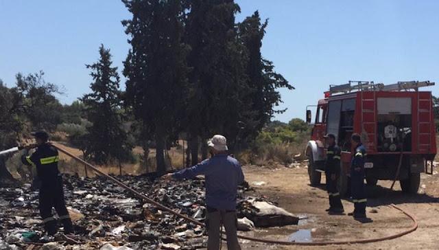 Πυρκαγιά σε κάδους ανακύκλωσης απορριμμάτων στο Κρανίδι