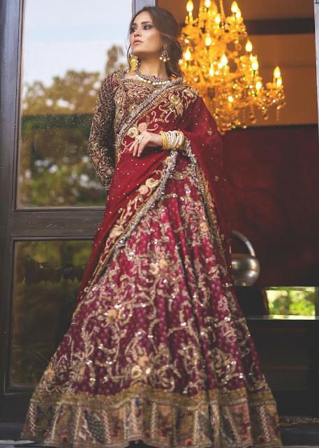 HSY Red silk lehnga bridal dress