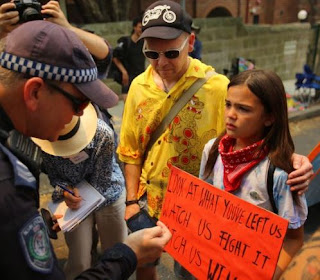 Issy and father Sydney climate rally