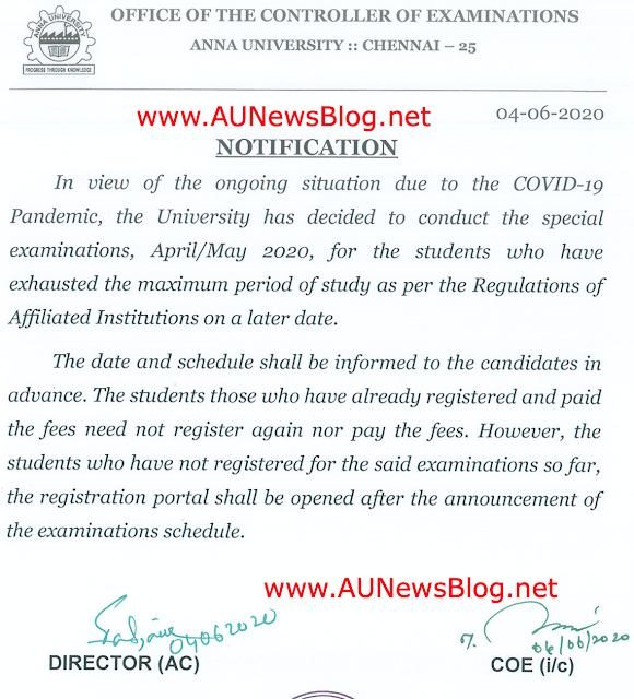Anna University planned to conduct April May 2020 Special exams first (Official Notification)