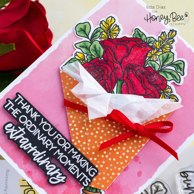 Love You Bunches, Bouquet Wrap Card, Honey Bee Stamps, Love Letters, Sneak Peeks,Card Making, Stamping, Die Cutting, handmade card, ilovedoingallthingscrafty, Stamps, how to,