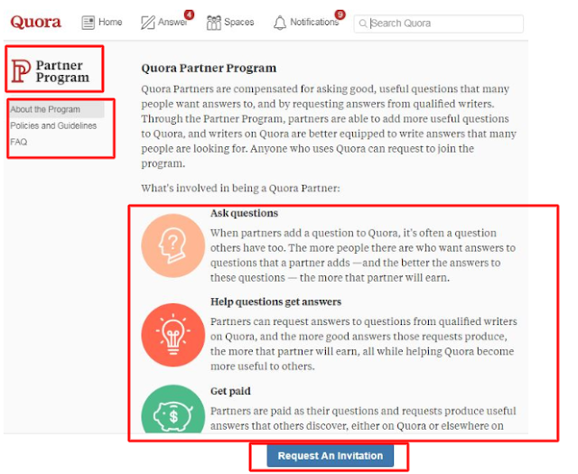 request Quora to send you a Quora partner program invitation