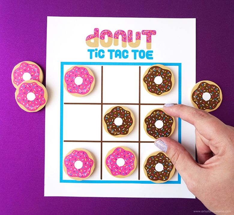 printable games for kids - donut tic tac toe