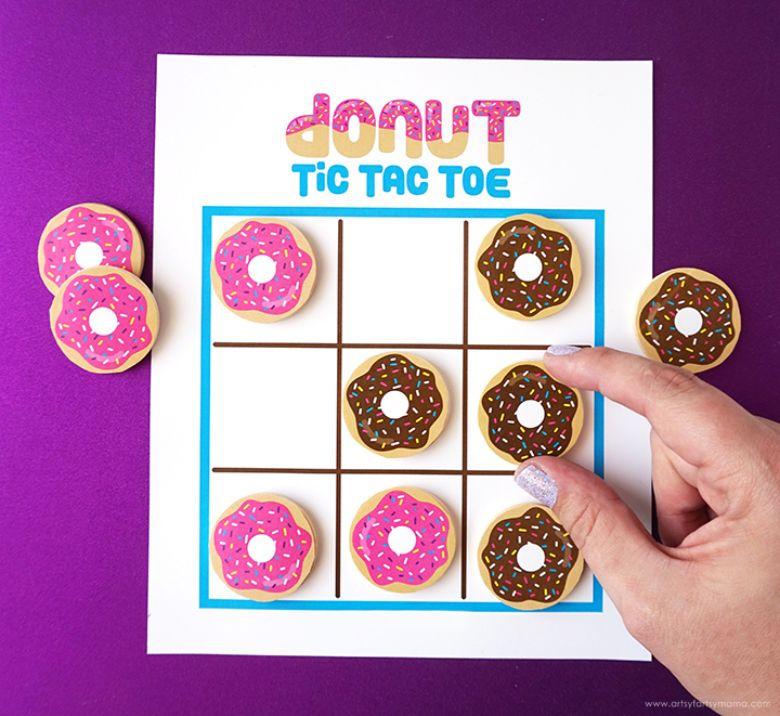 printable games for kids - donut tic tac toe