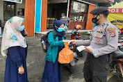 Sat Samapta Polres Pandeglang Berikan Himbauan Prokes Sekaligus Bagikan Masker