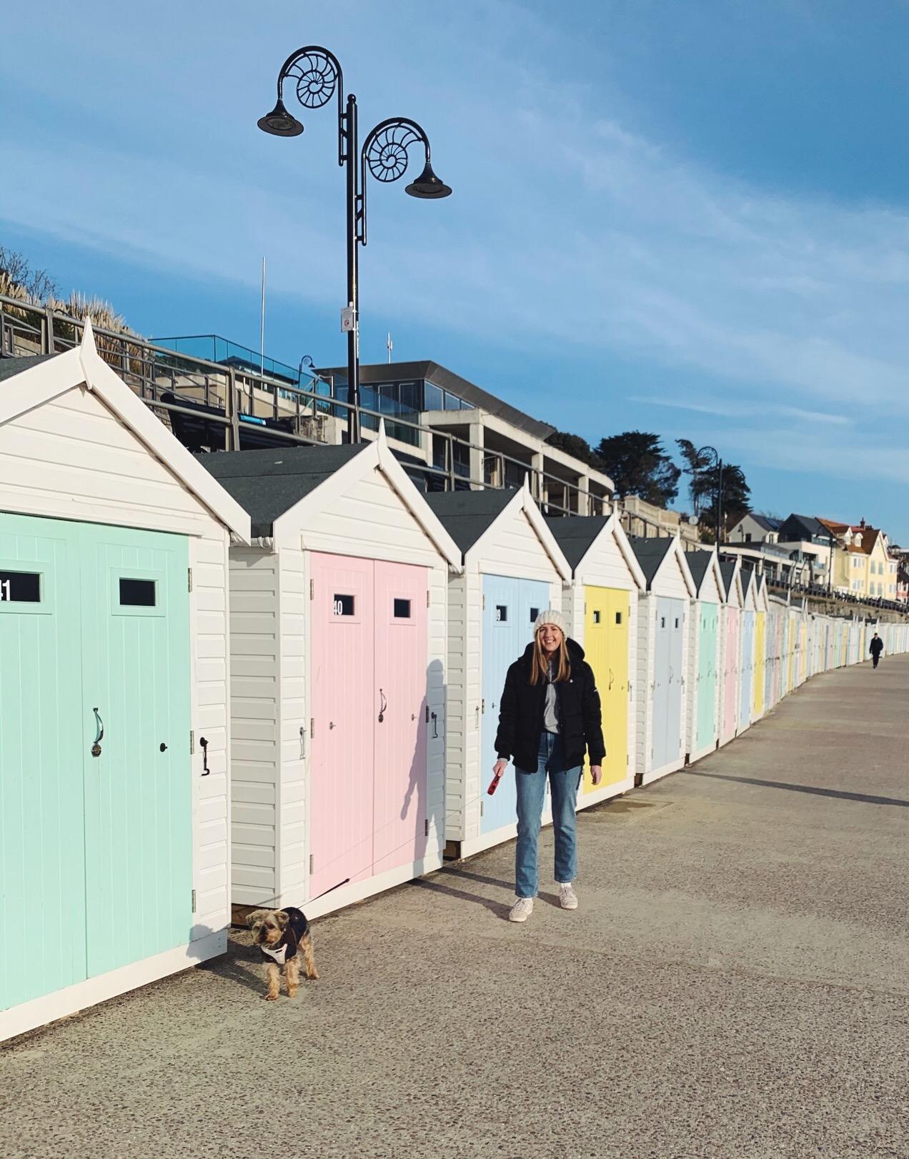 Lyme Regis Dorset beach huts girl yorkshire terrier