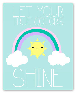 let your true colors shine kawaii rainbow art print