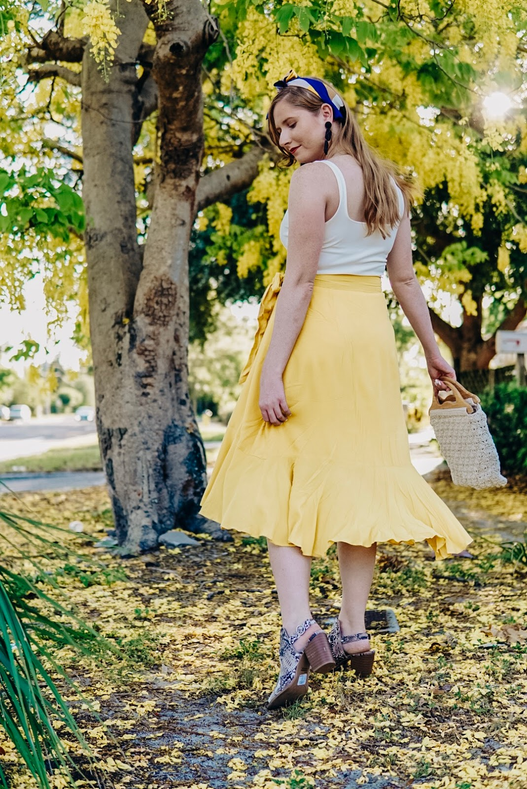Styling a Casual Yellow Wrap Midi Skirt for Summer | Affordable by Amanda Tampa Blogger