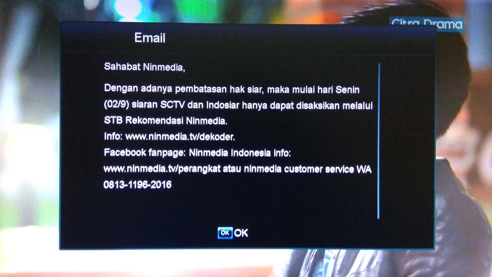 Kenapa Channel Indosiar Dan SCTV Hilang di Ninmedia