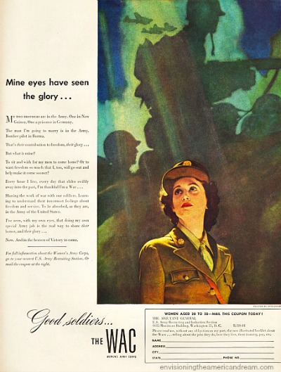 Recruitment Poster for WAC with woman enlistee featured in foreground