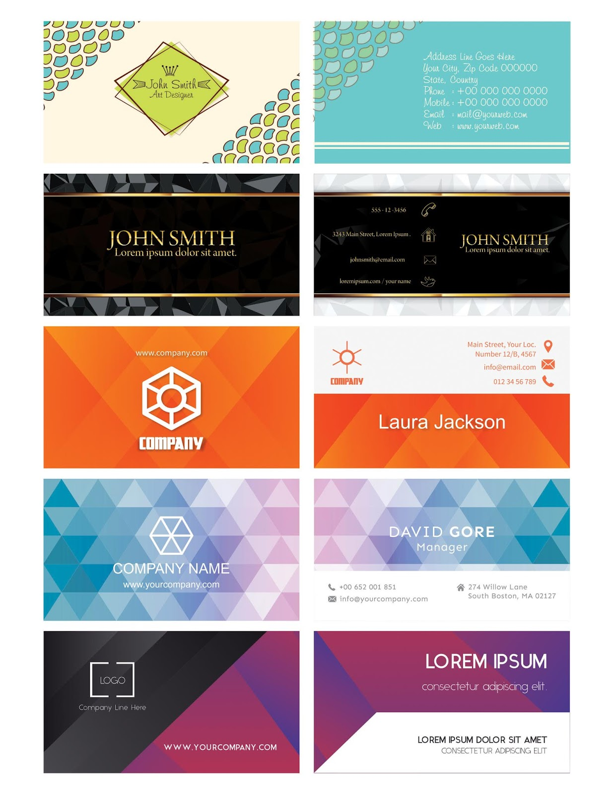 10 modern business card cdr file free download