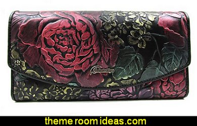 Embossed Genuine Leather Trifold Wallet Clutch Purse