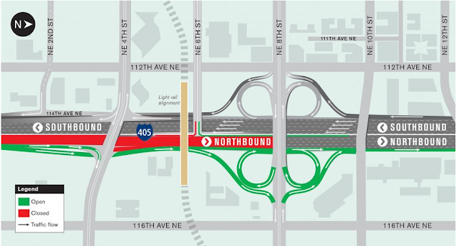 Northbound I-405 will be closed in Bellevue this weekend for Sound Transit work.