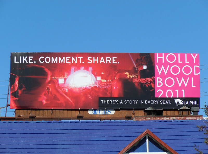 Hollywood Bowl Like Comment Share billboard