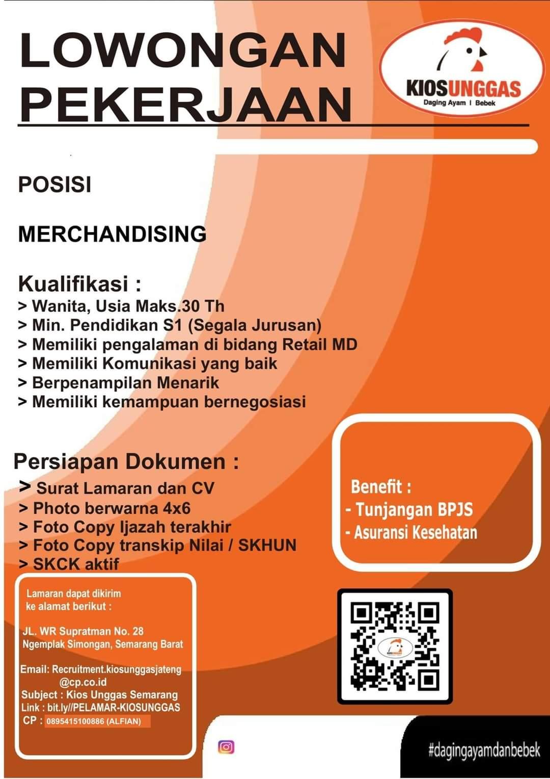 Lowongan Pekerjaan Posisi Merchanfising di Kios Unggas Semarang Barat