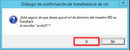 transferencia de la función RID master