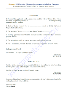 notarized affidavit for change of appearance indian passport