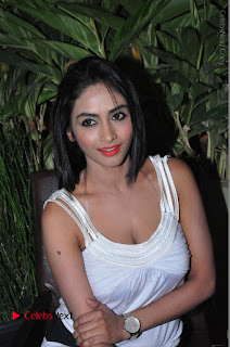 Actress Model Pooja Sri Stills in White Short Dress at F Club pre soft Launch  0192.JPG