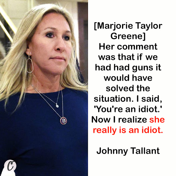 [Marjorie Taylor Greene] Her comment was that if we had had guns it would have solved the situation. I said, 'You're an idiot.' Now I realize she really is an idiot. — Johnny Tallant — a history teacher at South Forsyth High School in 1990 who wrestled a gun from Addis