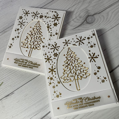 Two Christmas Cards with Gold Foil Trees and gold Embossed Snowflakes
