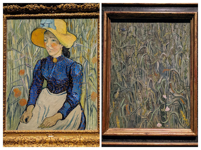 A peasant woman with a straw hat and a blue dress sits in a field of wheat in the painting on the left. On the right is a painting of a similar field of wheat.