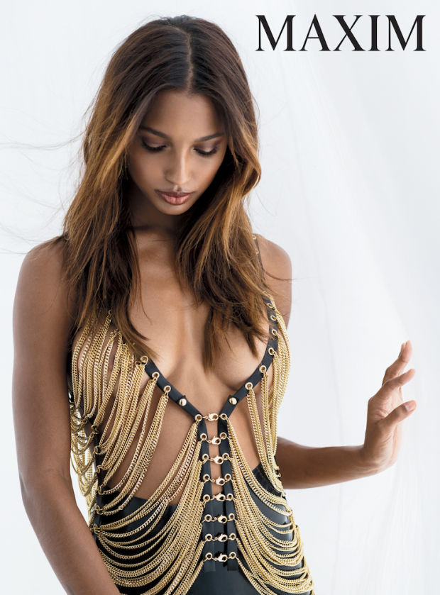 Jasmine Tookes goes braless for Maxim February 2017