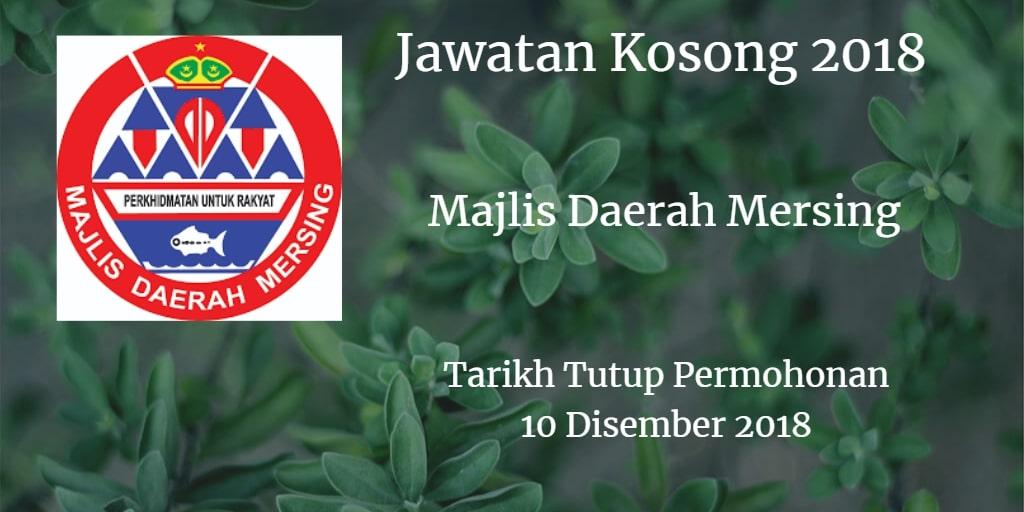 Jawatan Kosong Majlis Daerah Mersing 10 Disember 2018