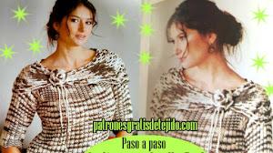 Patrones de Suéter Dos Agujas con Hermoso Cuello en Punto Red / Con Explicación Paso a Paso