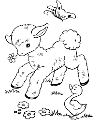 Lamb With Butterfly Coloring Sheet For Print