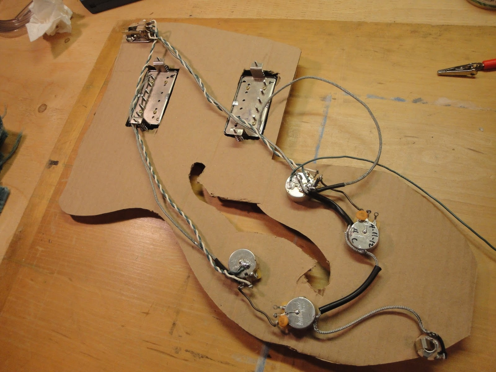 Guitarchaeology101 1973 Guild Capri Ce100d Guitar Output Jack Wiring Then All The Parts Need To Be Installed Through Pickup Openings On Top Of I Used Clear Tubing Thread And Pots Into