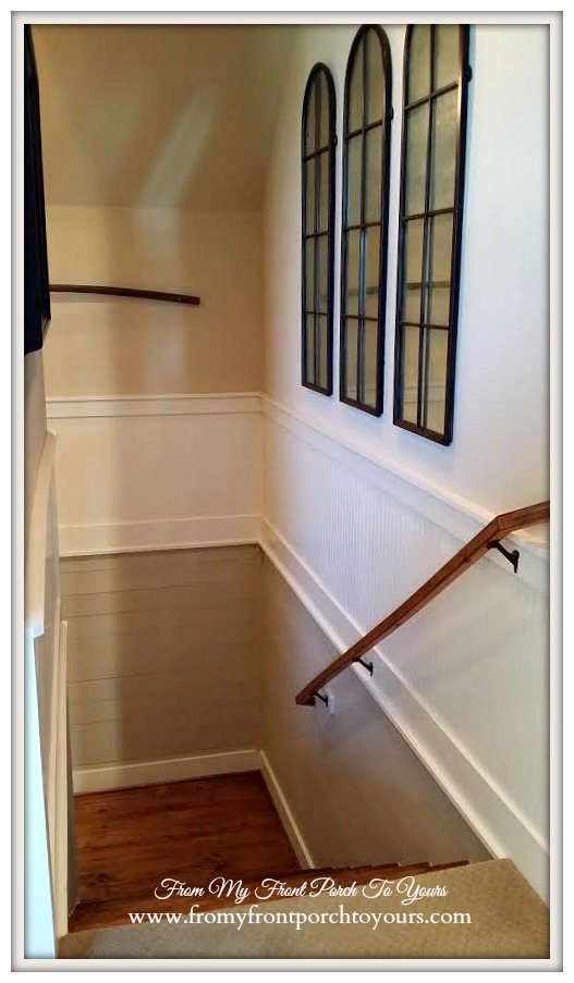 Texas Farmhouse-Planked Stairwell-RoundTop Texas-Trendmaker Homes-From My Front Porch To Yours