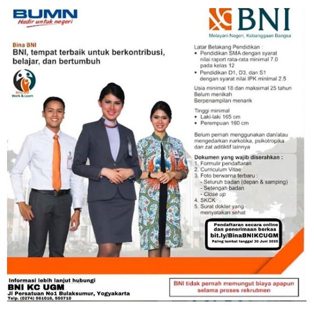 Lowongan Pekerjaan Bina Bank BNI Tingkat SMA D3 S1 Tahun 2020